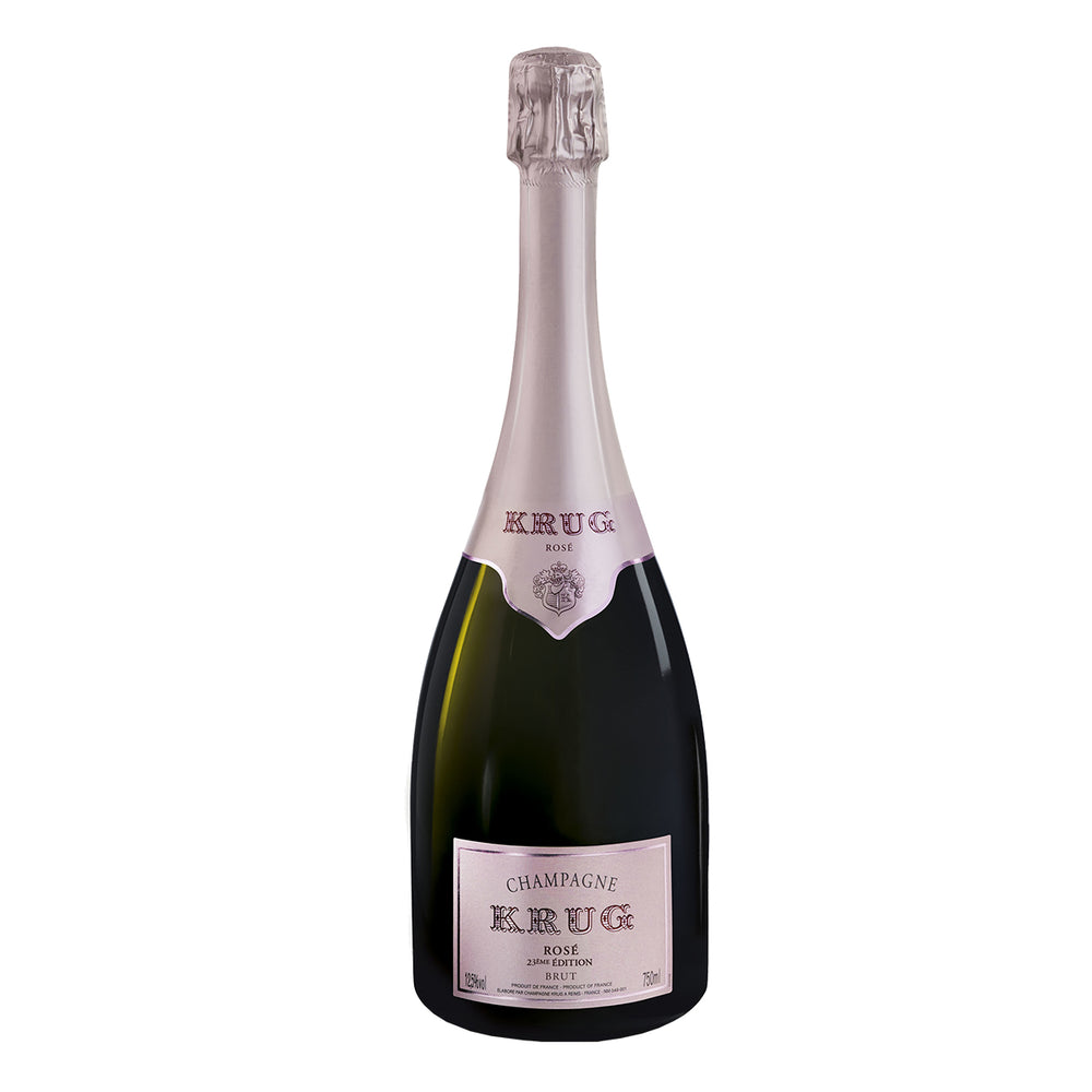 Krug Brut Rose bottle image with pink label and cork