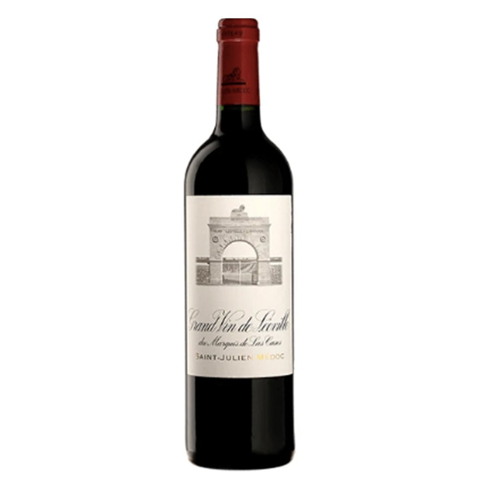 Chateau Leoville Las Cases Saint Julien Red wine bottle with red topper and classy white label showing sketch of chateaux