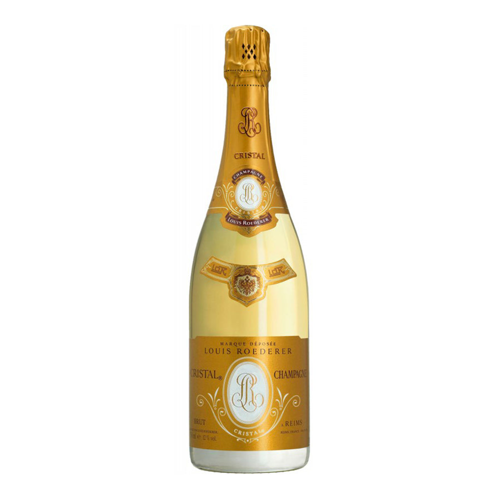 Load image into Gallery viewer, Louis Roederer Cristal Brut bottle image and stunning gold label
