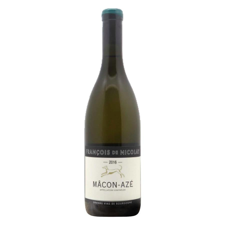 Francois de Nicolay Macon Aze white wine bottle with blue label