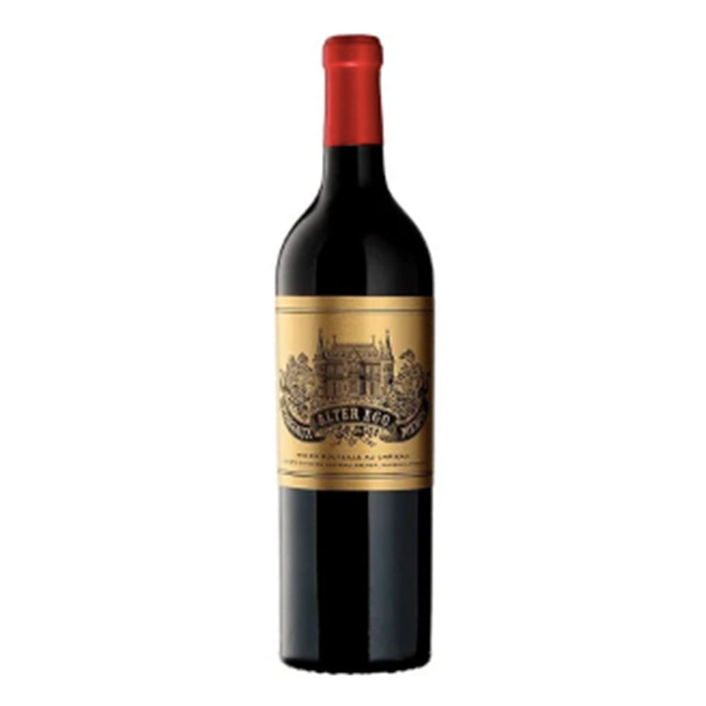 Chateau Palmer Alter Ego red wine bottle with red topper and gold and black luxurious label