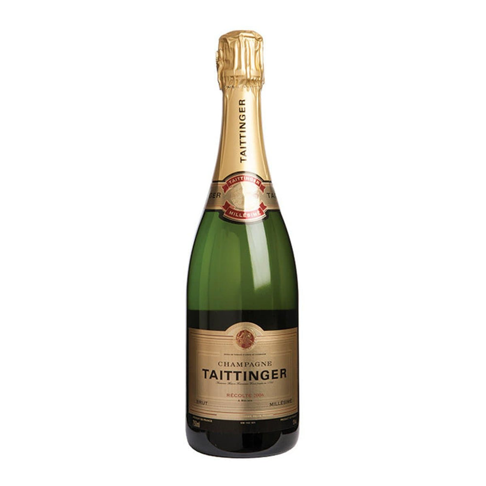 Taittinger Brut champagne bottle with gold foil
