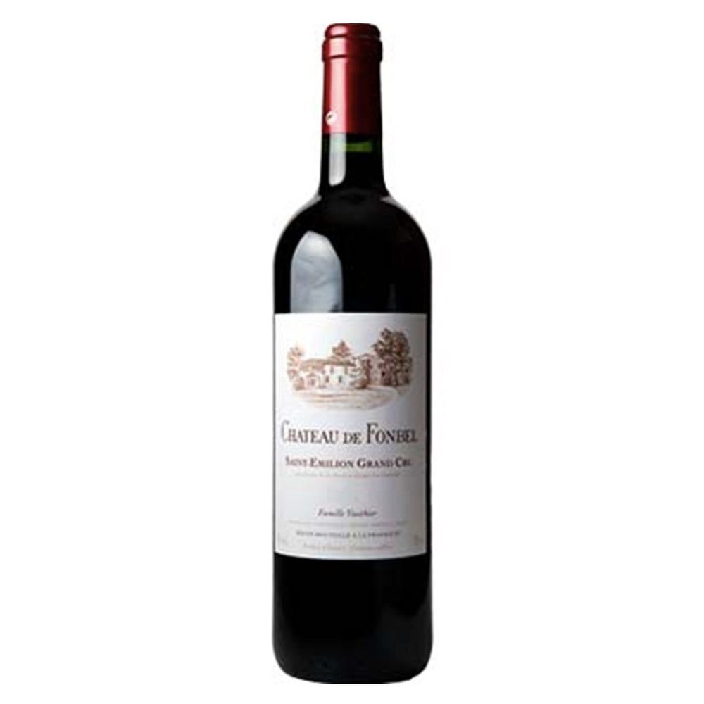 Chateau de Fonbel Saint Emilion Grand Cru Red wine bottle with red foil top and white label showing chateaux sketch