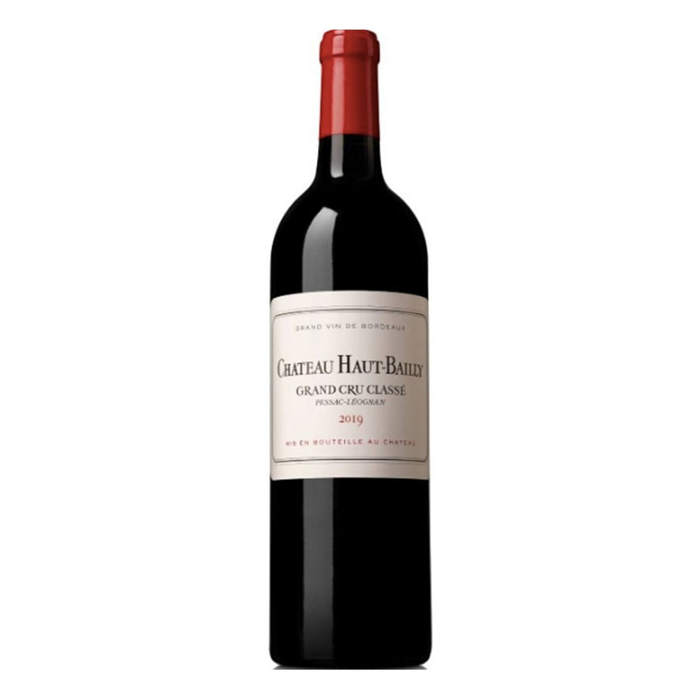 Chateau Haut-Bailly Pessac Leognan Red wine bottle with red foil top and white classy label