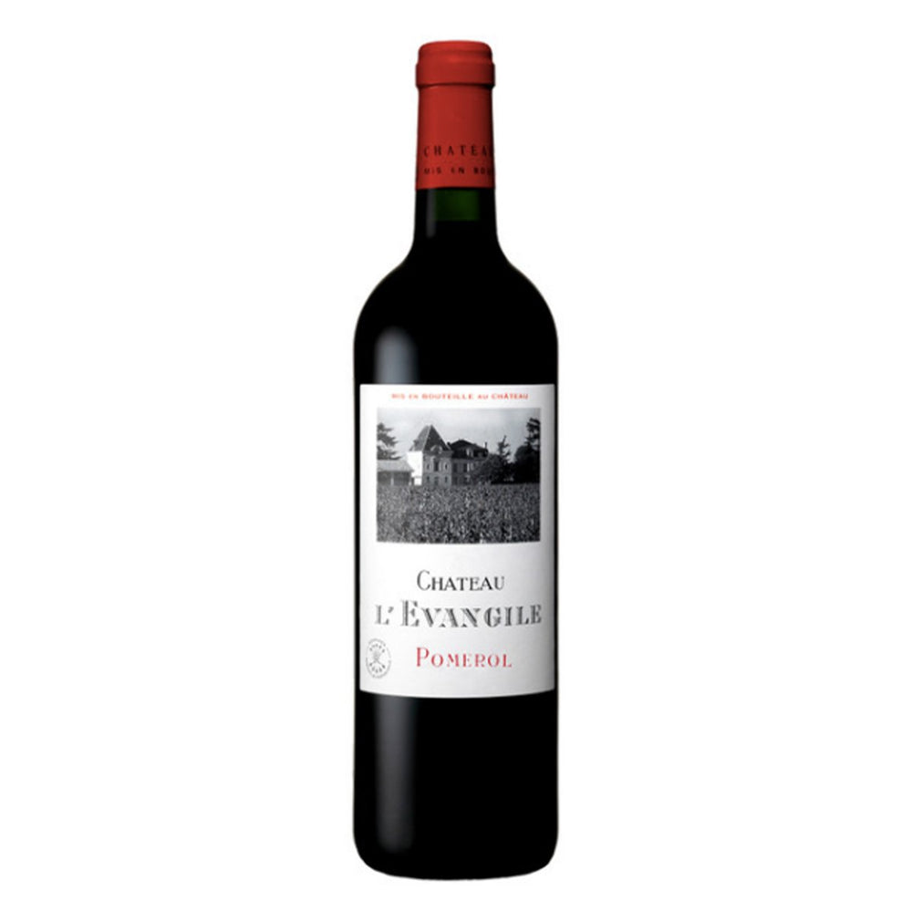 Chateau L'Evangile Pomerol red wine bottle with red foil top and black and white label