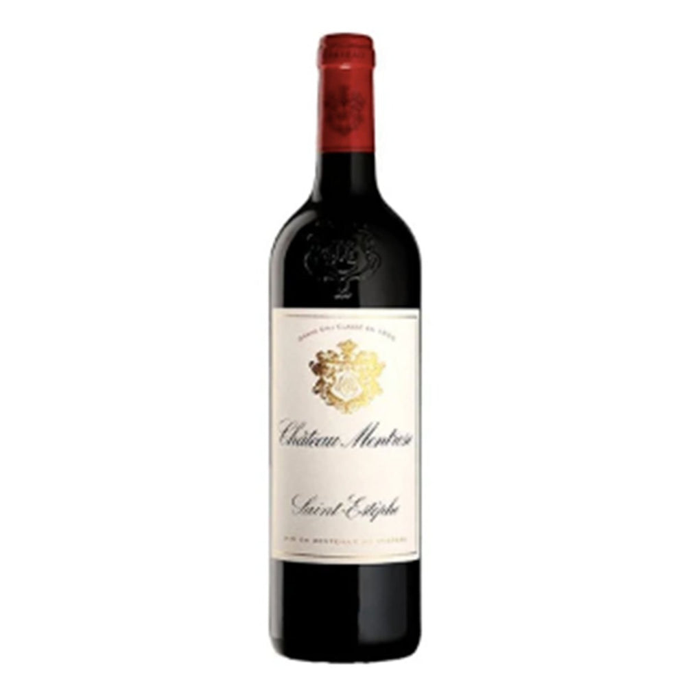 Chateau Montrose Saint Estephe Red wine bottle with red topper and white and gold label