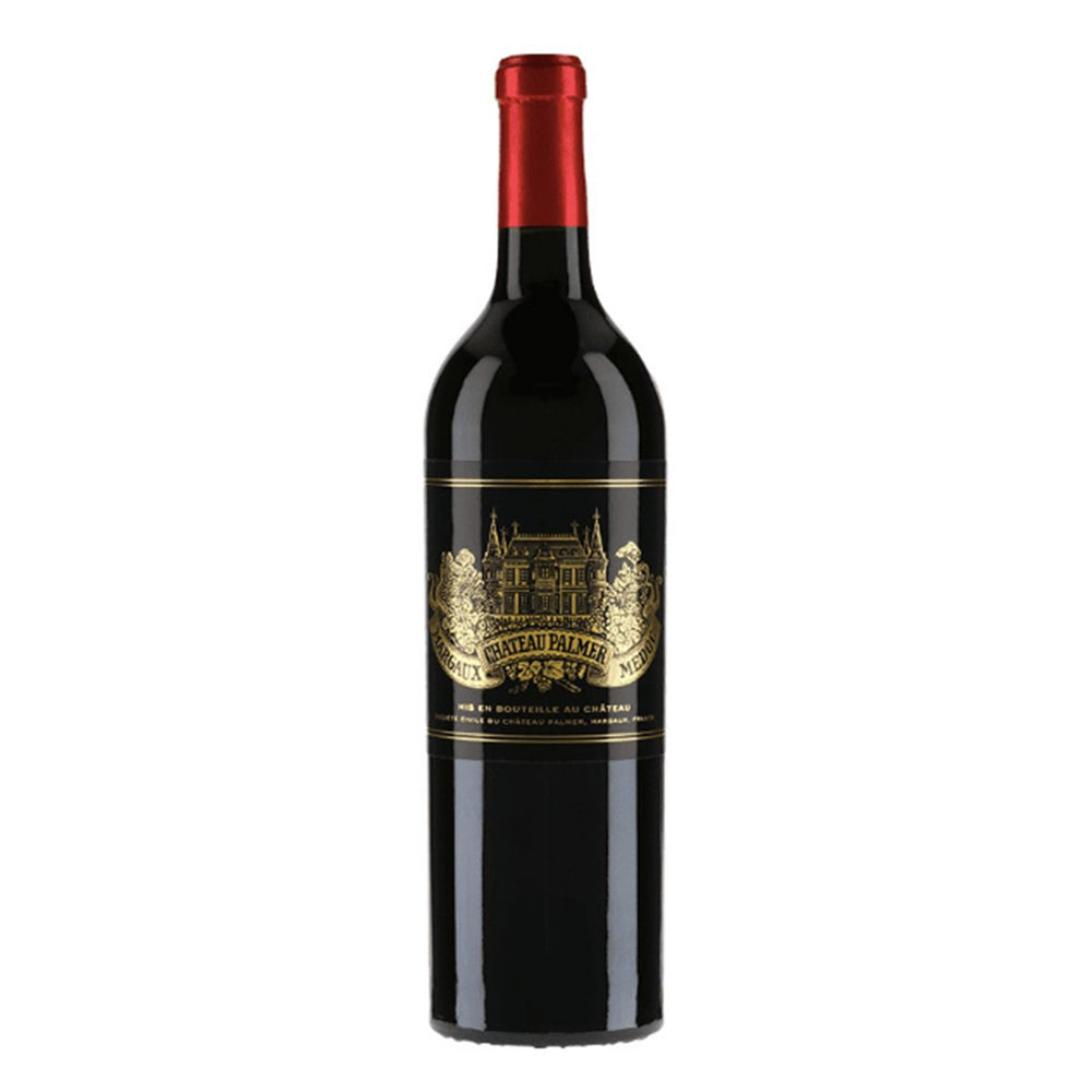 Chateau Palmer Margaux Red wine bottle with red topper and luxurious black and gold label