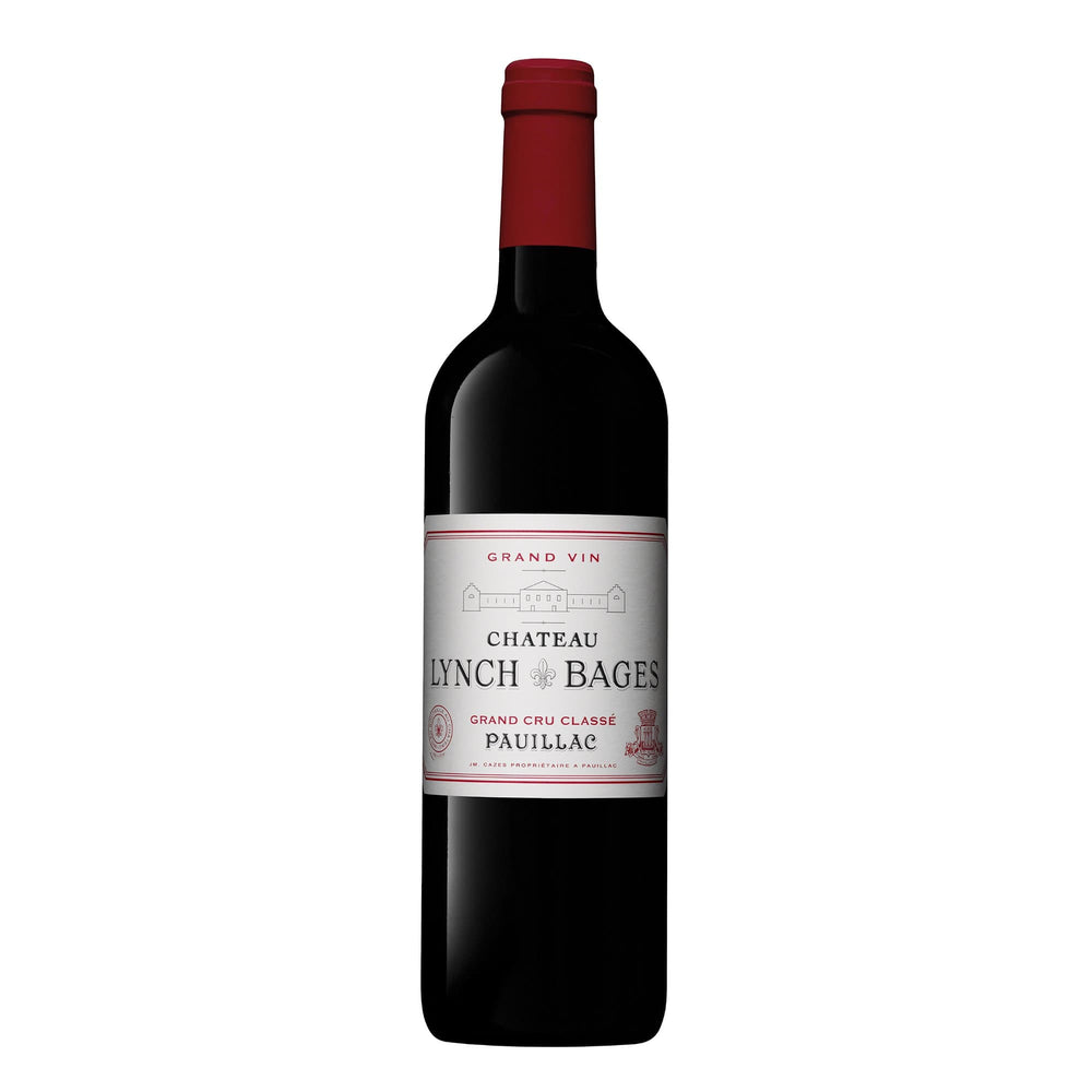 Chateau Lynch Bages Pauillac red wine bottle with red foil top