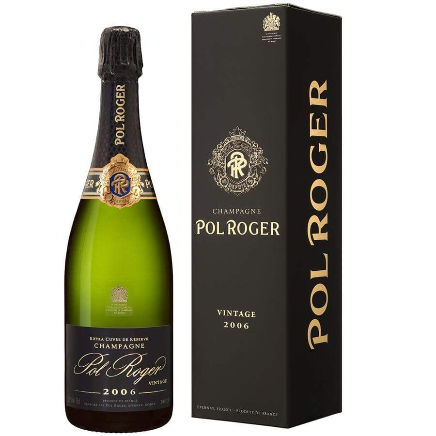 2006 Pol Roger champagne bottle with black foil cork