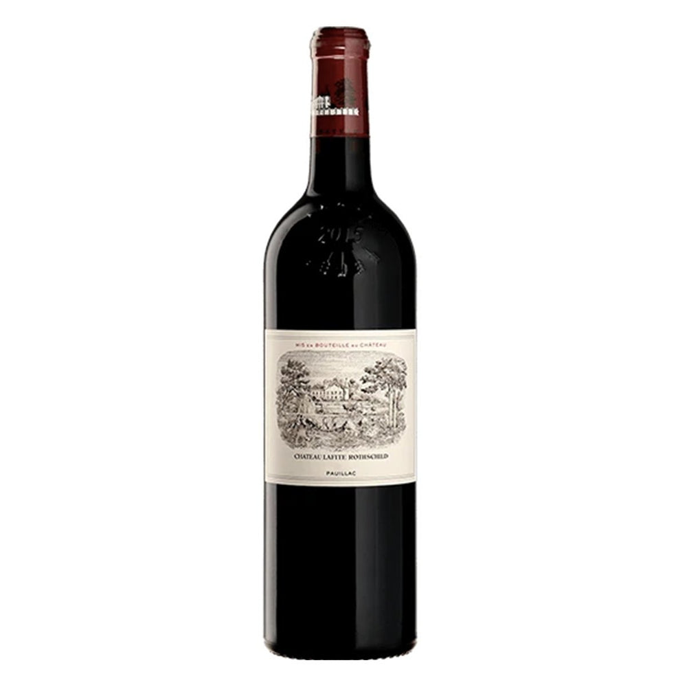 Chateau Lafite Rothschild Pauillac red wine bottle with maroon topper and label showing classic drawing of chateaux