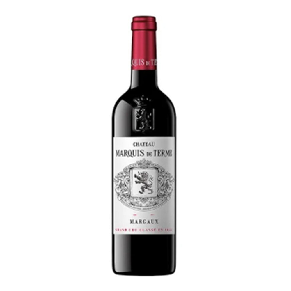 Chateau Marquis de Terme Margaux Red wine bottle with red topper and white classic label showing chateaux coat of arms