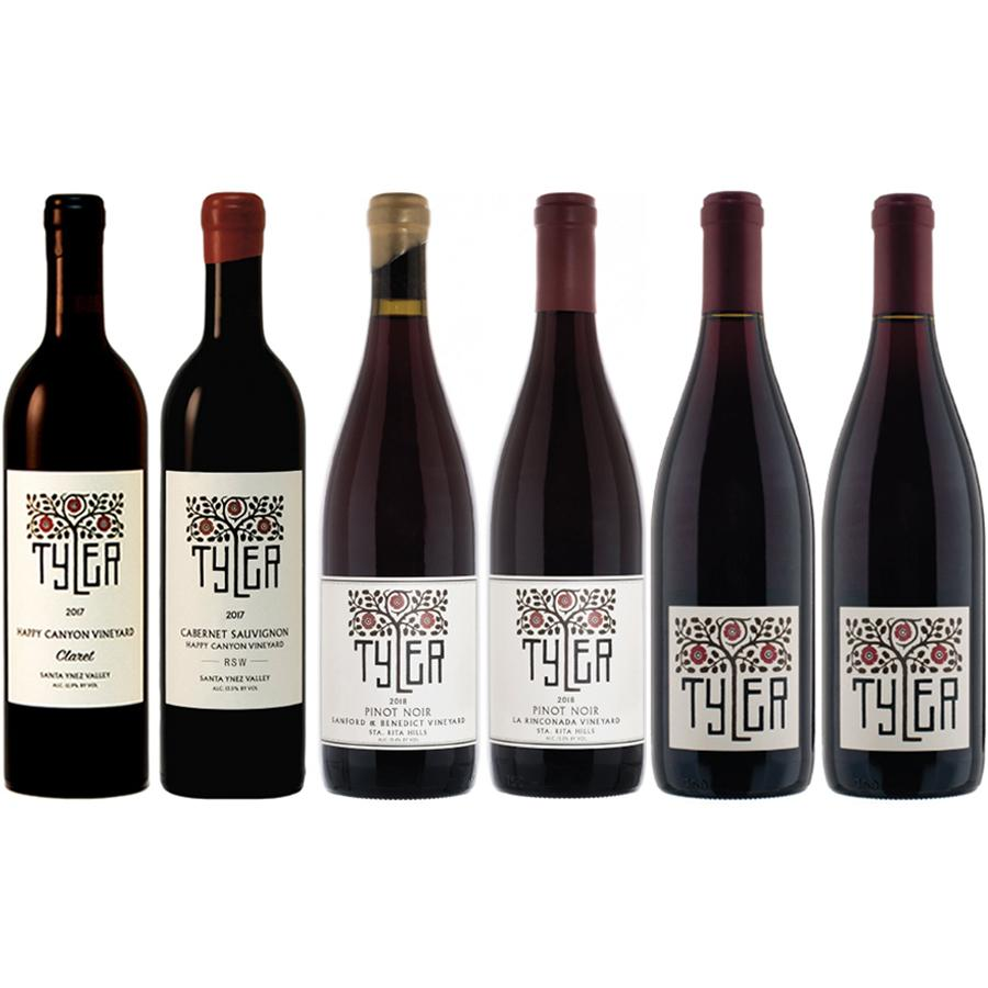Selection of 6x red wine bottles from Justin Willet aka Tyler
