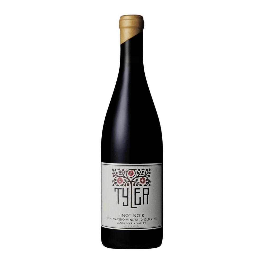 "Tyler ""Bien Nacido"" Old Vines Red wine bottle with gold wax top and white tyler logo label"