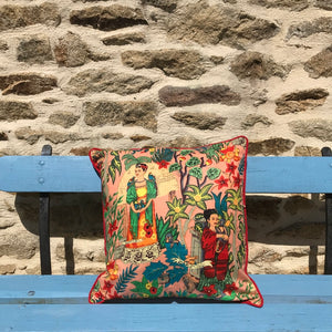 Coussin Mexicain Frida Kahlo - Rose