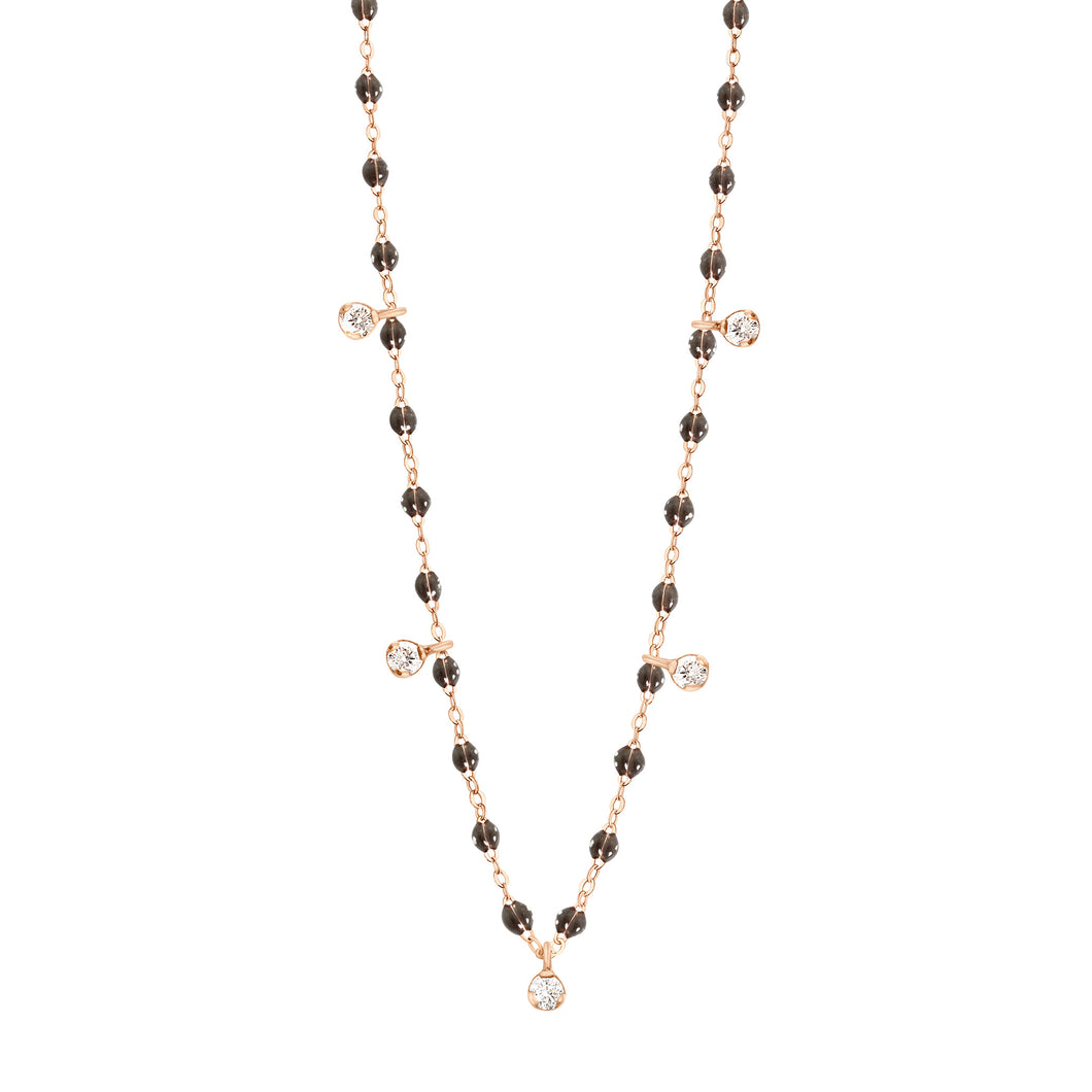 Collier Gigi Suprême, 45 cm, Or Rose, Quartz, 5 diamants