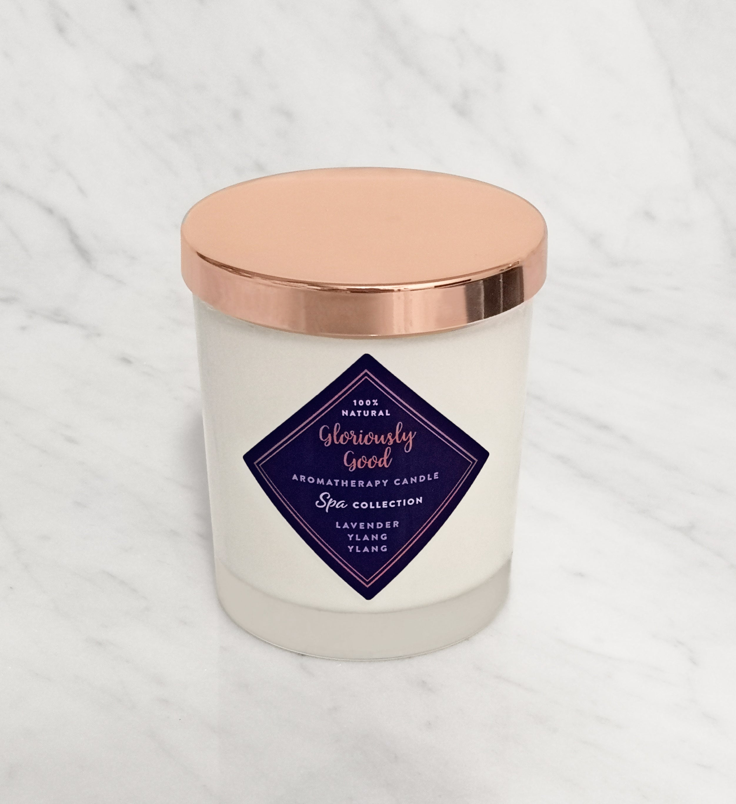 Lavender and Ylang Ylang aromatherapy candle with rose gold lid hand poured natural soy wax with essential oils