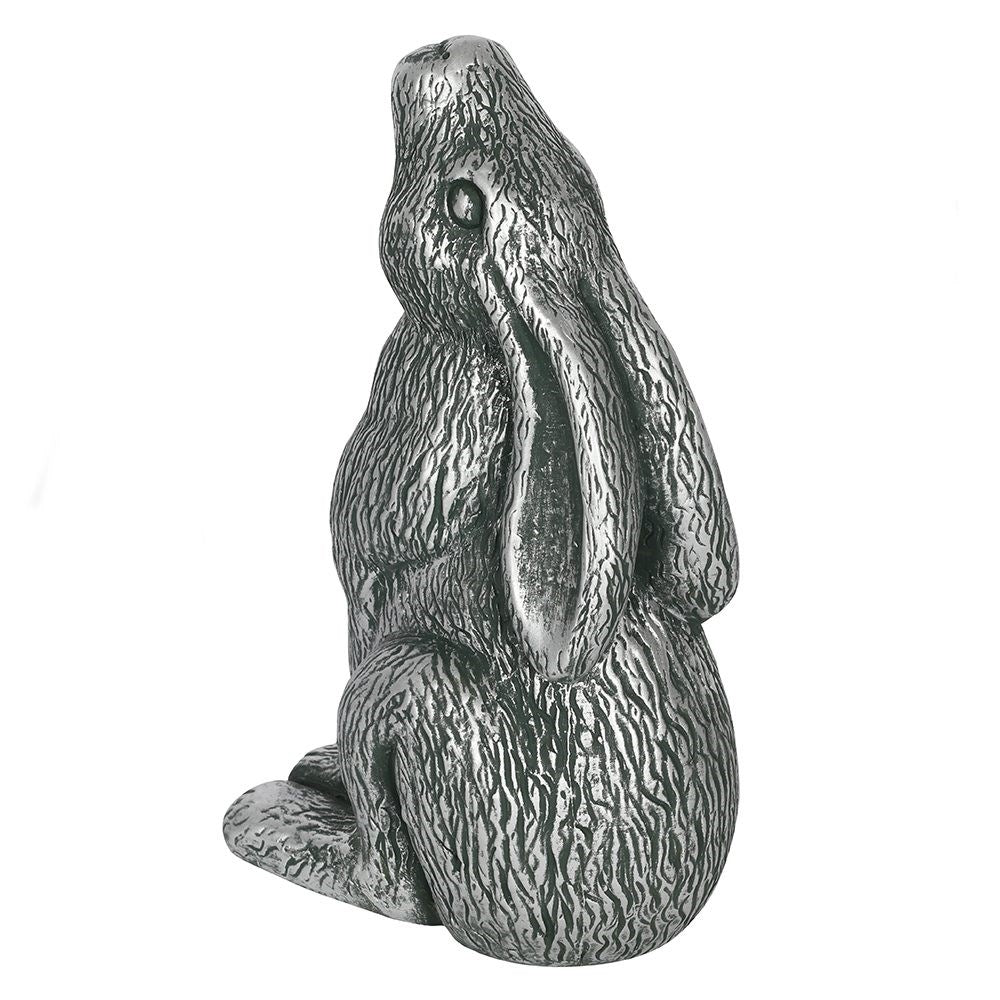 Silver Terracotta Moon Gazing Hare Garden Ornament