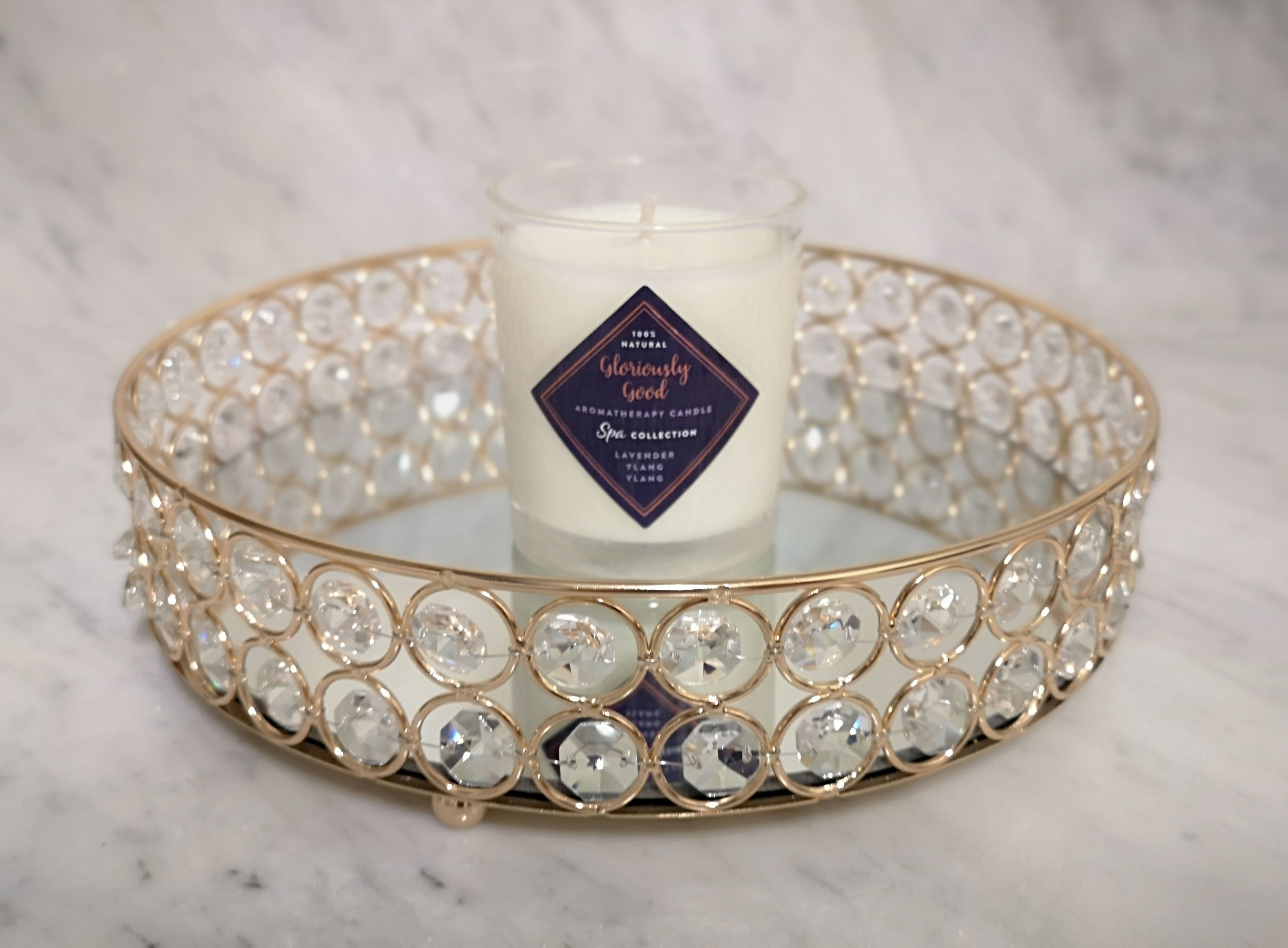Mirrored decorative tray with Gloriously Good Lavender & Ylang Ylang  Aromatherapy Candle displayed in the centre