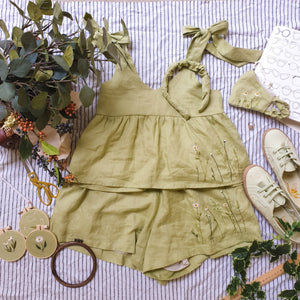 Wildflower 2-Piece Linen Set (Sage Green)