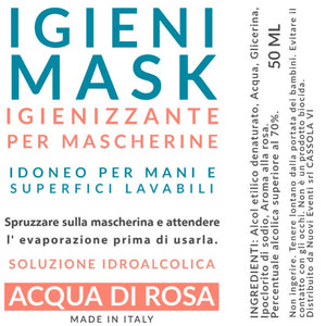 kit 3 pz igienizzante profumato all' acqua di Rosa 50ML per mascherine e mani