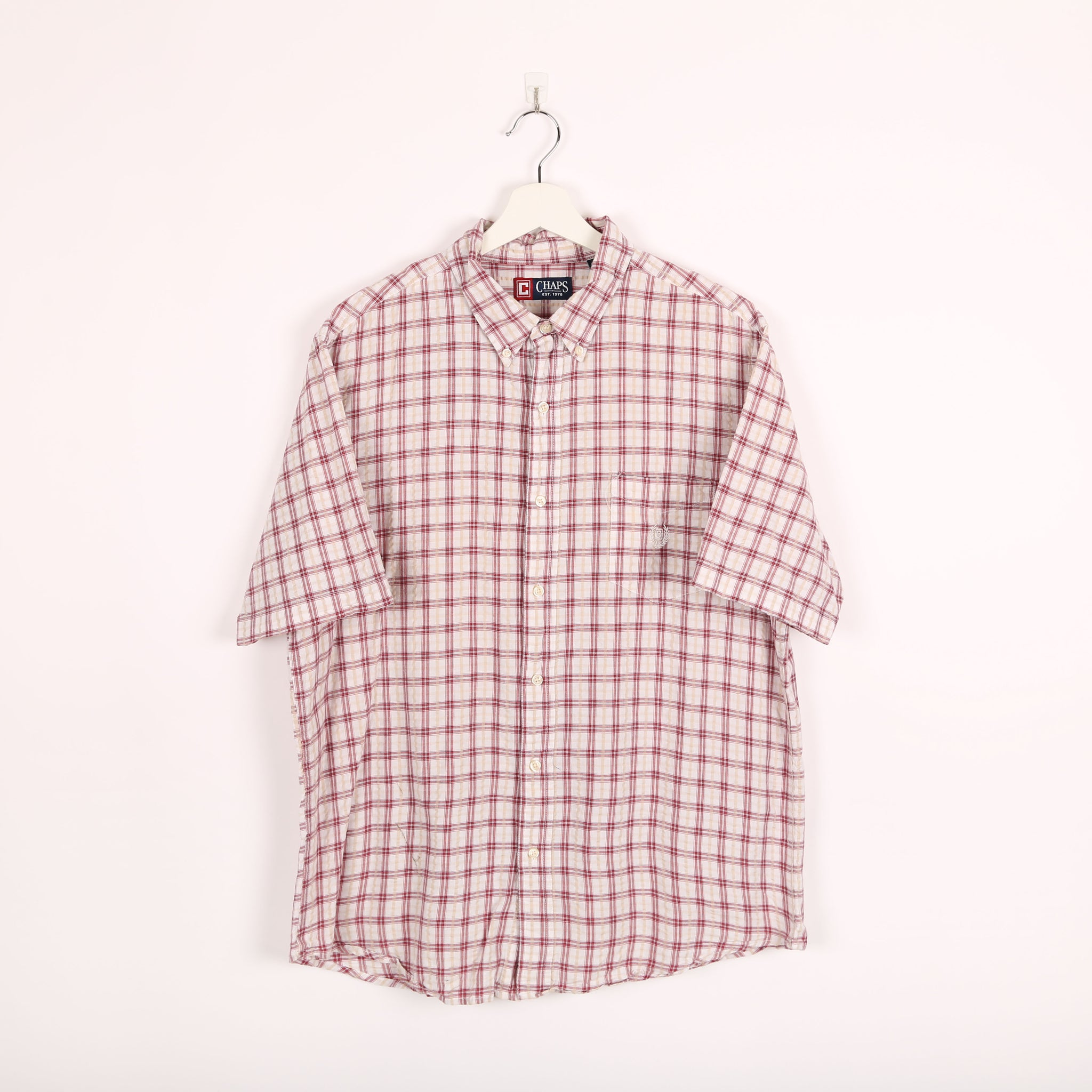 Chaps Short Sleeve Shirt White/Pink Large