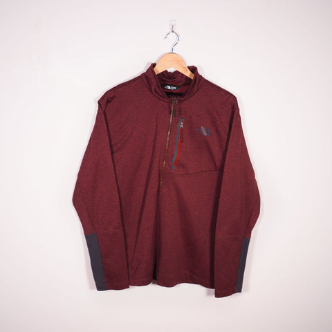 The North Face 1/4 Zip Sweatshirt Red Large
