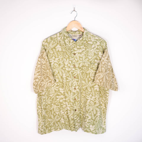 Abstract Pattern Shirt Green Large