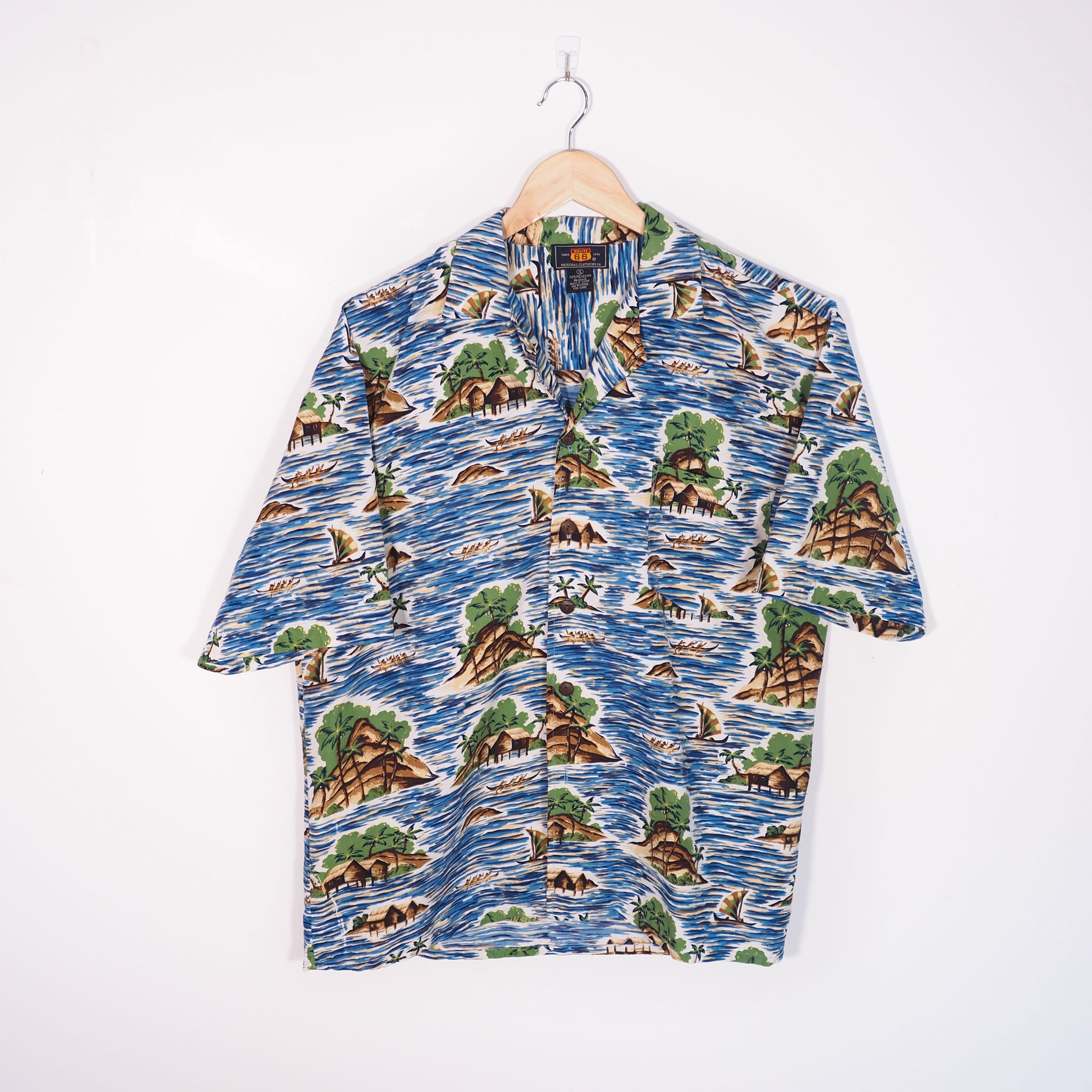 Abstract Pattern Shirt Blue Small