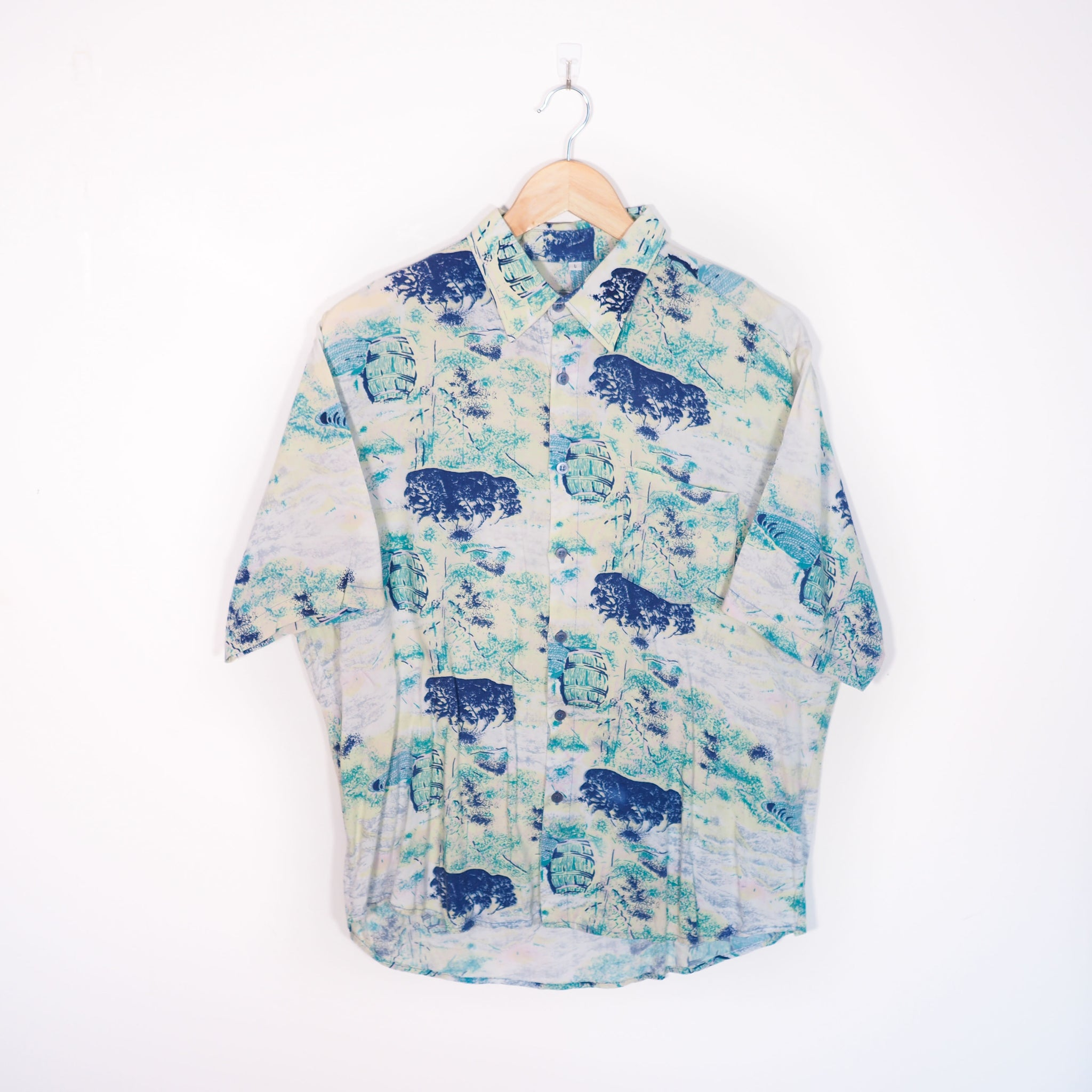 Abstract Pattern Shirt Blue Medium