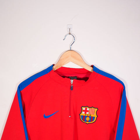 Nike FC Barcelona 1/4 Zip Sweatshirt Red Large