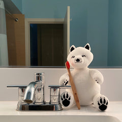 Arctic Fox Stuffed Animal with Bamboo Toothbrush