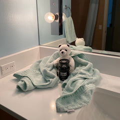 Stuffed Polar Bear with Lush Dream Cream Lotion in Black Recycled Pot