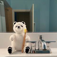 Polar Bear Stuffed Animal with Bamboo Toothbrush