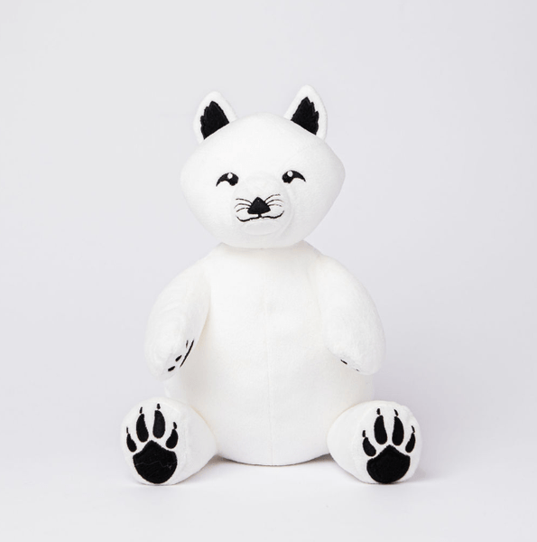 Arctic Fox Stuffed Animal Made from Recycled Plastic with Black Paws, Eyes and Ears