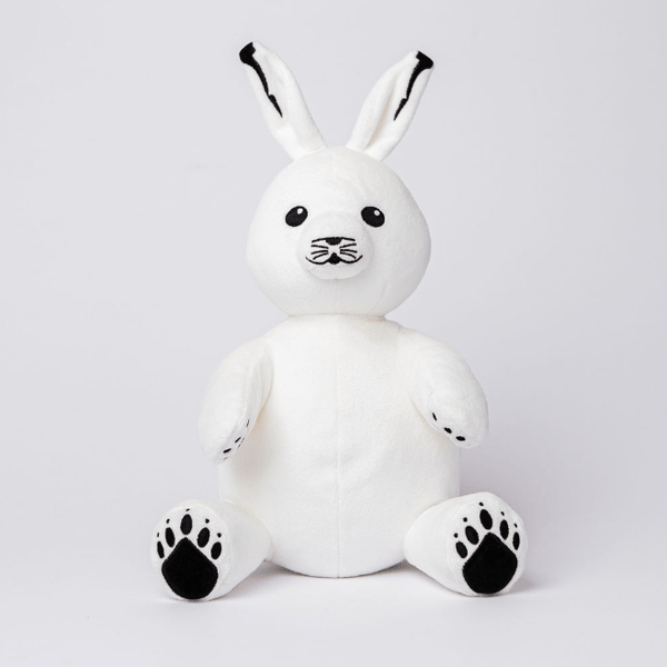 Arctic Hare Stuffed Animal White made from Recycled Plastic with Black Paws and Eyes