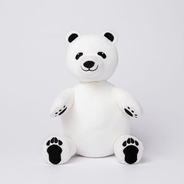 Polar Bear Stuffed Animal Made from Recycled Plastic White with Black Paws, Eyes and Ears