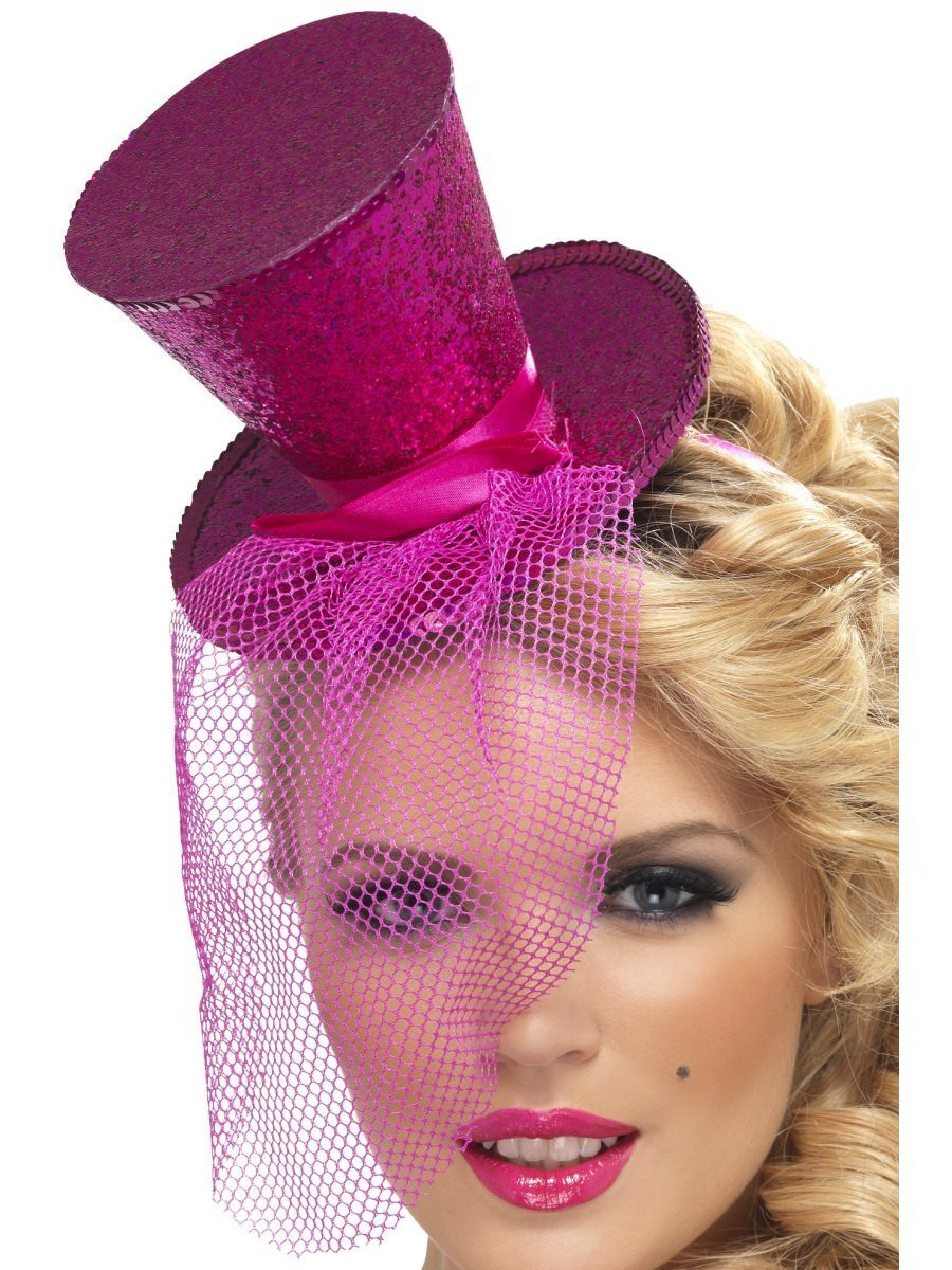 Smiffys Fever Mini Top Hat on Headband Hot Pink with Detachable Netting Women