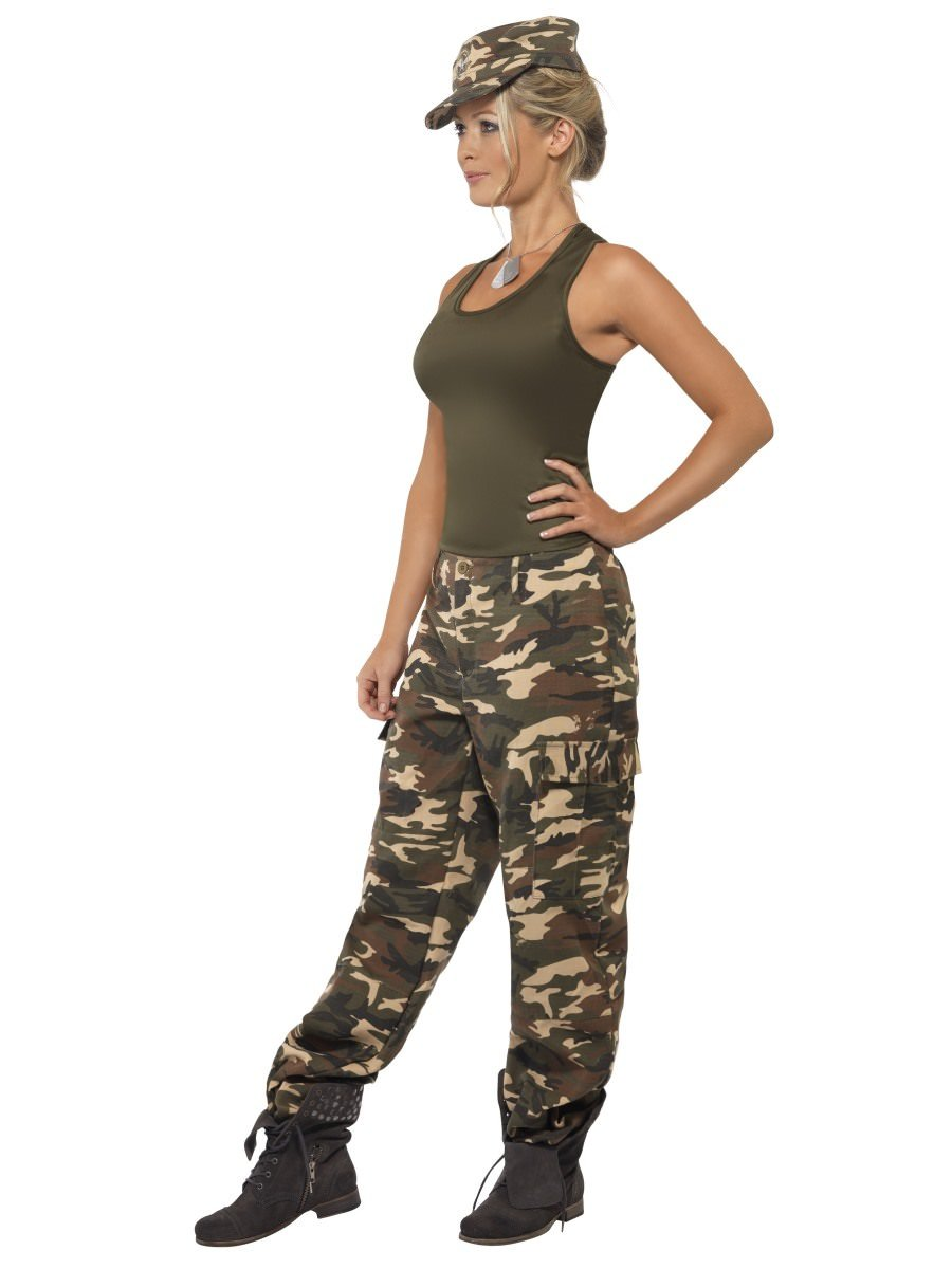 Ladies Mens Adult Camouflage Army Camouflage Fancy Dress Costume Outfit Cap Hat