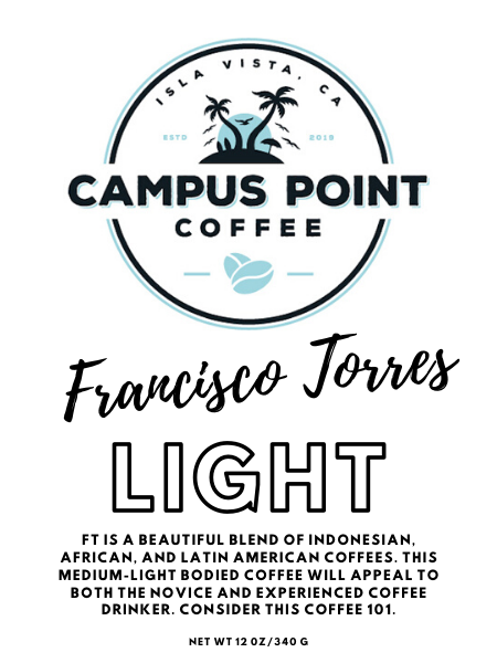 Francsico Torres Light Roast Coffee, Francisco Torres, Francisco Torres Light Roast, Light roast coffee, coffee, ground coffee, whole bean coffee, ground light roast coffee, whole bean light roast coffee, FT Light Roast Coffee, FT Light Roast, campus point coffee