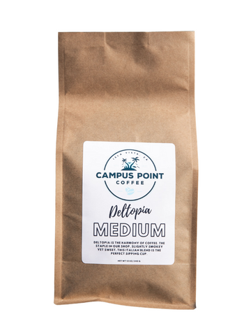 Deltopia Medium Roast Coffee, Deltopia, Deltopia Medium Roast, medium roast coffee, coffee, ground coffee, whole bean coffee, ground medium roast coffee, whole bean medium roast coffee, campus point coffee
