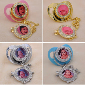 Sublimation bling pacifier with holder for sublimation