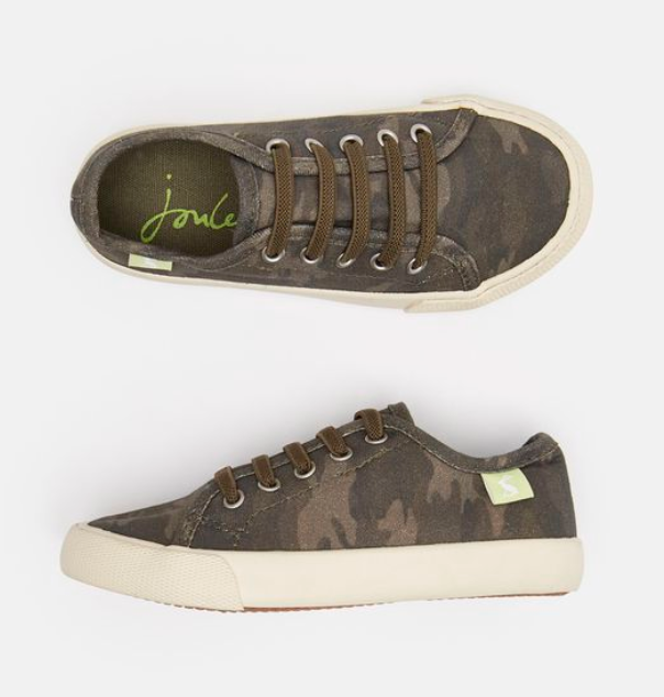 Joules Lace Up Camo Canvas Trainer