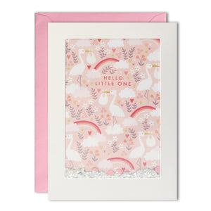 James Ellis Pink Stork Pattern Rectangular Shakies Card