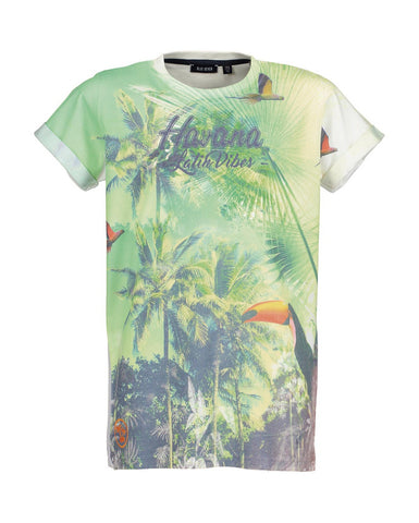 Blue Seven older boys printed toucan hawaiian T-Shirt