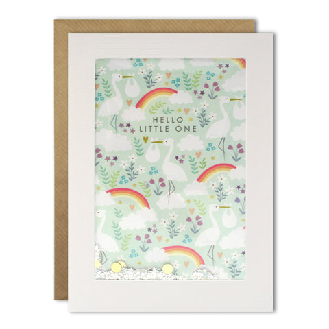 James Ellis Rainbow Stork Pattern Rectangular Shakies Card