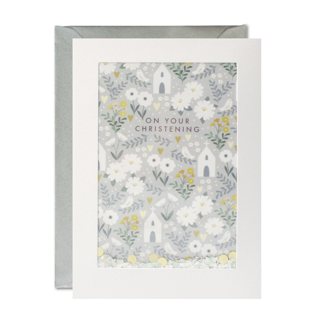 James Ellis Christening Pattern Rectangular Shakies Card