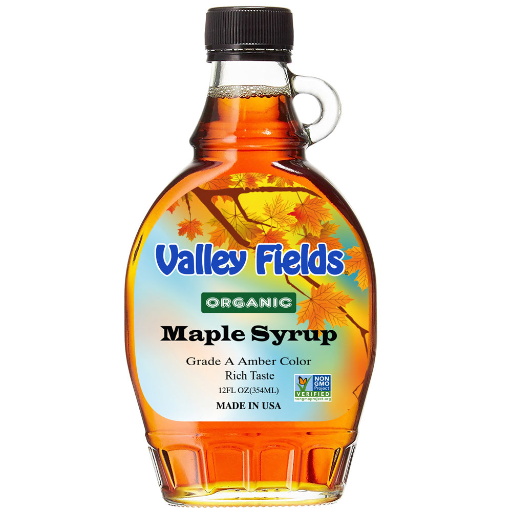 Valley Fields Organic Maple Syrup Amber Taste 12oz (Made in USA)