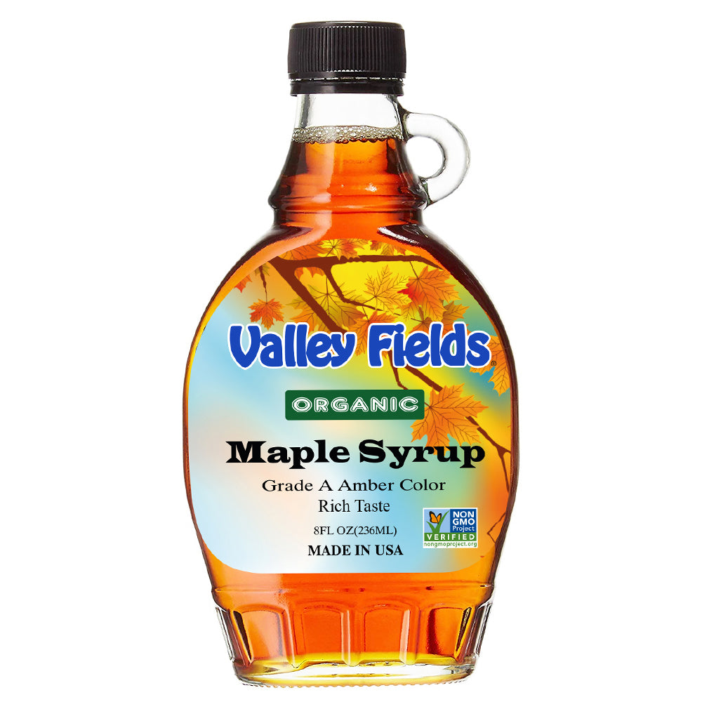 Valley Fields Organic Maple Syrup Amber Taste 8oz (Made in USA)