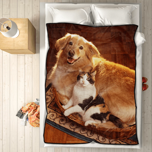 personalized pets photo cover whole fleece custom blanket