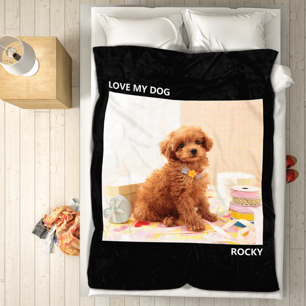 pets personalized with 1 photo fleece custom blanket